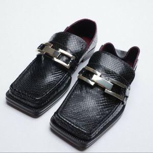 Zara Low Heeled Animal Print Leather Loafers 38
